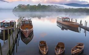 Picture fog, boat, England, pier, Cumbria, Lake District National Park