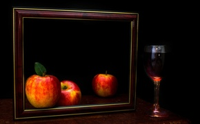 Picture wine, apples, glass, picture, The frame