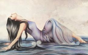 Wallpaper pose, hands, painting, face, profile, sea, wave, girl, long hair, dress