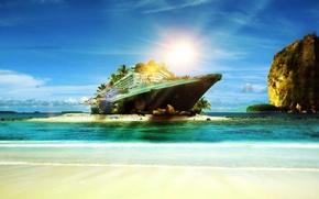 Picture beach, tropics, the ocean, shore, Queen Mary 2, sunlight, Cruise ship