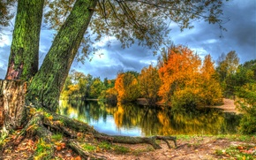 Wallpaper HDR, river, trees, shore, autumn, forest, leaves