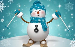 Picture new year, Christmas, winter, snow, snowman