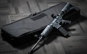 Wallpaper suitcase, AR 15, assault rifle, weapons