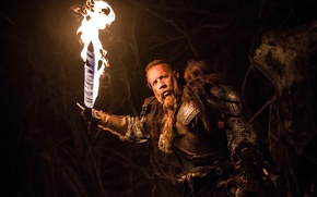 Picture night, fire, sword, VIN Diesel, Vin Diesel, The Last Witch Hunter, The last witch hunter