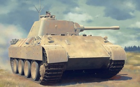Picture war, art, painting, tank, Pz.OBS.Wg.V Panther