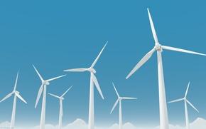 Picture graphics, minimalism, windmills, hi-tech