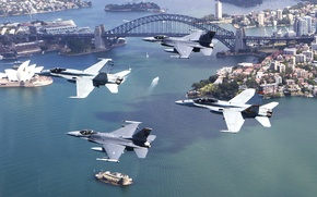 Wallpaper BUILDING, HOME, The CITY, AIRCRAFT, ISLANDS, BOATS, Arch, FLIGHT, STRAIT, YACHTS, FIGHTERS, FOUR, BRIDGE