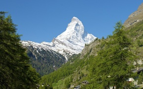 Picture snow, trees, Switzerland, slope, Alps, Italy, the Matterhorn
