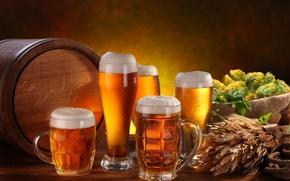 Wallpaper foam, table, beer, glasses, ears, mugs, light, barrel, hops