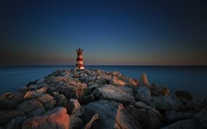 Picture sea, stones, lighthouse, Portugal, Faro, the breakwater, Vilamoura