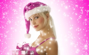 Picture blonde, gifts, snow maiden