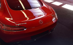 Picture Mercedes-Benz, Red, Switzerland, AMG, Supercar, Rear, GT S