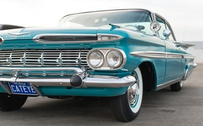 Picture color, the front, 1959, Chevy Impala
