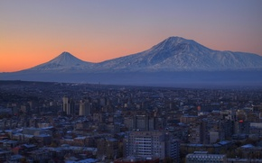 Picture landscape, mountains, the city, Wallpaper, home, wallpapers, Armenia, Yerevan, Ararat