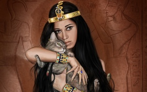 Picture cat, girl, decoration, art, Egypt, Egyptian, Queen