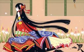 Picture pattern, kimono, irises, long hair, touhou, art, hakurei reimu, Touhou Project, ideolo, bells wind