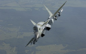 Picture The Russian air force, the area, The MiG-29SMT, MiG-29SМТ, the 4+generation, turn, fighter, multifunction, flight