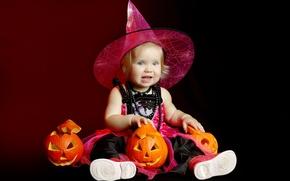 Picture holiday, girl, pumpkin, Halloween