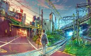 Picture girl, bridge, the city, art, railroad, yuumei, Wenqing Yan