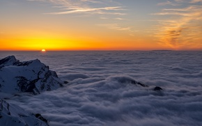 Picture the sun, clouds, sunset, mountains, height