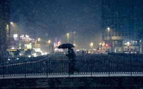 Picture snow, bridge, lights, people, umbrella, bus