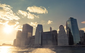 Picture USA, United States, river, Sunset, water, New York, Manhattan, NYC, New York City, Skyline, shore, …