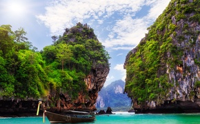 Picture landscape, nature, the ocean, rocks, boat, Bay, Thailand, resort, Krabi, Ao Nang, THAILAND