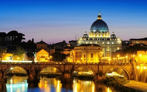 Picture the city, the evening, lighting, Rome, Italy, Rome, The Vatican, St. Peter's Cathedral, St. Peter's …