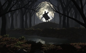 Picture forest, night, river, the moon, without a head, rider