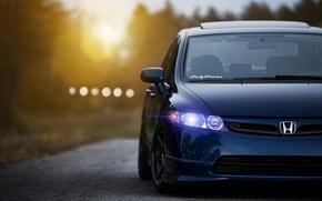 Picture the sun, sunset, blue, Honda, Blik, Honda, blue, front, civic, Sedan, Civic