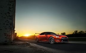Picture GTR, Orange, Nissan, Front, Sun, AMS, Performance, Widebody