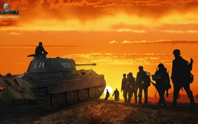 Wallpaper Nikita Bolyakov, art, glow, soldiers, Panther, average, German, World of Tanks, figure, tank, the sun, ...