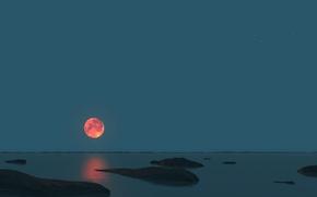 Picture sea, the sky, night, stones, the moon, horizon, panorama