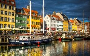 Picture building, Denmark, channel, promenade, court, Denmark, Copenhagen, Copenhagen, Nyhavn, New Harbor, Nyhavn, New Harbour