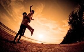Picture sea, beach, love, sunset, romance, pair, love, beach, Sunset, embrace