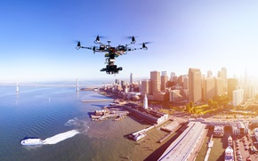 Picture city, technology, drone, sensors