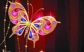 Picture butterfly, jewelry, gold, design, butterfly, luxury, sparkle, jewelry, diamonds, jem