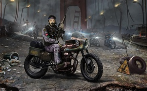 Picture bridge, motorcycle, biker, bike, postapokalipsis