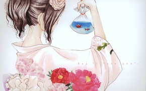 Picture fish, package, yukata, flower in hair, Tachibana Mei, floral pattern, Say i love you, Say …
