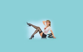 Picture girl, books, stockings, the pinup, pin-up