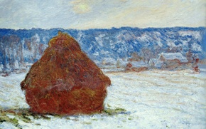 Wallpaper Claude Monet, picture, The haystack in Cloudy Weather. The Effect Of Snow, landscape