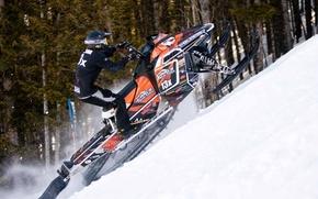 Picture jump, Snow, Snow, snowmobile, the rise, Polaris, snowmobile, Polaris