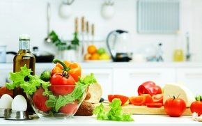 Picture leaves, oil, food, eggs, cheese, bread, kitchen, before, vegetables, tomatoes, cucumbers