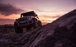 Picture Mercedes-Benz, Sky, Front, AMG, Sunset, Smoke, G63, 6x6, Ligth, Off-Road