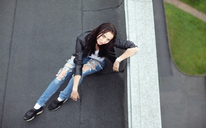 Picture roof, look, girl, face, hair, jeans, jacket, Vika