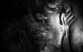 Picture smoke, girl, black and white