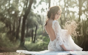 Picture girl, back, bouquet, dress, Asian, the bride