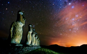 Picture stars, night, the milky way, Magellanic clouds, Ostrov Easter, Rapa Nui, the Moai statues