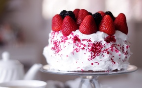 Picture white, berries, strawberry, cream, BlackBerry, sweet, the