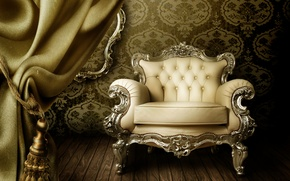 Picture Wallpaper, chair, curtains, vintage, interior, luxury, curtain